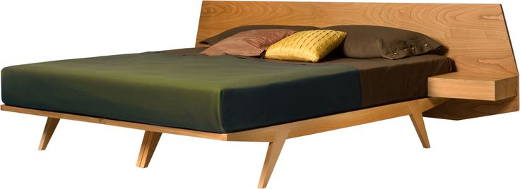GIO' bed with a solid cherry wood structure and headboard with integrated drawer