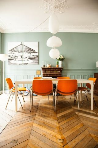 Vibrant orange accents (via The Socialite Family)   my ideal home...   Bloglovin'