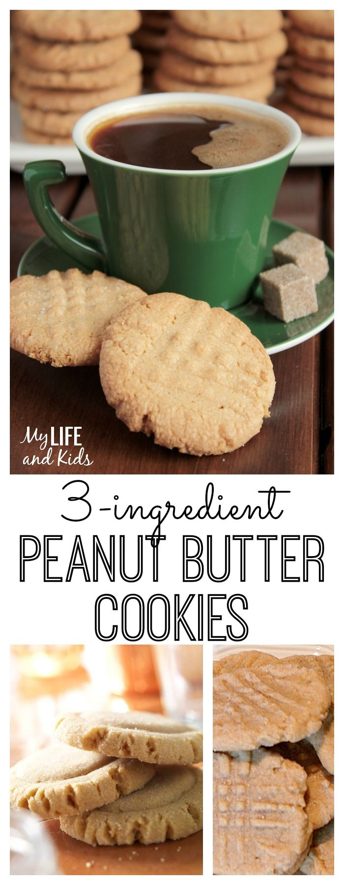 This simple peanut butter cookie recipe is only 3 ingredients, no flour! It's easy and delicious and a great recipe to whip up with your kids! Gluten free, dairy free dessert recipe.