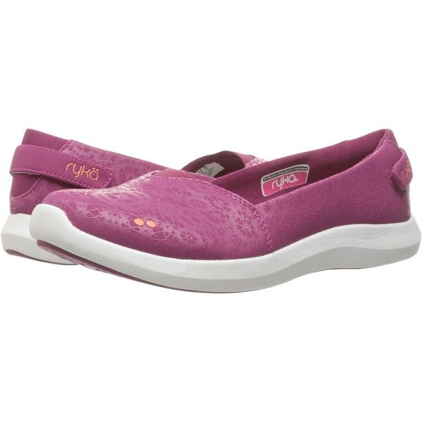 Ryka Amaze (Raspberry Radiance/Fusion Coral/Chrome Silver) Women's... (390 EGP) ❤ liked on Polyvore featuring shoes, flats, pink, silver slip on shoes, pink ballet shoes, silver ballet shoes, pink flats and silver ballet flats