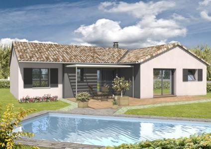 Modèle et plan de maison Cantabile avec décroché façade arrière par le constructeur MAISONS CIV