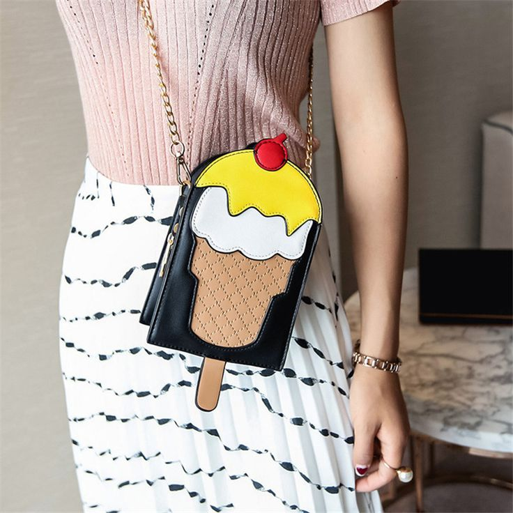 HANDBAG  -  Under $30  - Novelty women leather handbags Ice Cream Shaped crossbody bags.  . . . Visit the page for more details . . .  See more Great Novelty Handbags like this on my Board.