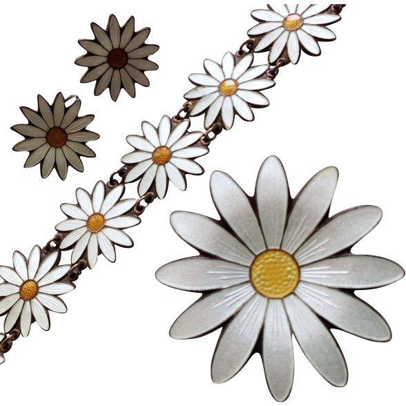Vintage Aksel Holmsen Daisy Margarita Parure Set Bracelet Earrings Brooch