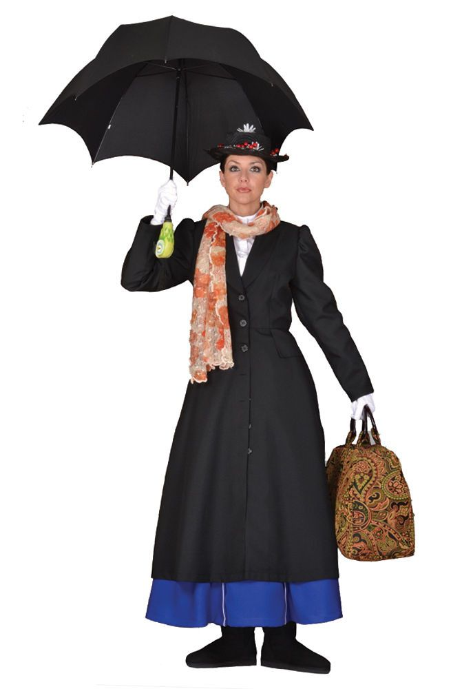 deluxe mary poppins english nanny dress hat carpetbag. Black Bedroom Furniture Sets. Home Design Ideas