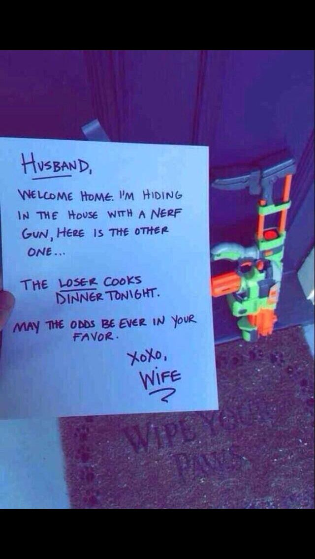 Saw this on Facebook. What a fun welcome home idea! #bringiton