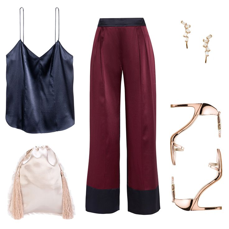 - Silky separates in a subtle color blockimbue a sense of chic nonchalance and feel equally feminine to a dress. Add unexpected extras into the mix, like a rose-gold sandal and pale pink pouch. Dainty studs that climb the earlobes are a perfectly delicate finish.
