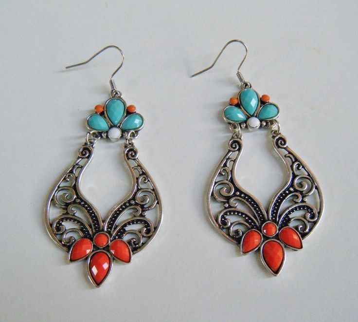 Blue Red Turquoise Colored Dangle Gypsy Style Fashion Earrings Jewelery #fashionjewelry #fashionearrings #danglingearrings #gyrpsyearrings #earrings  #jewelry