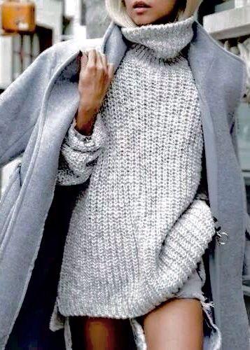 Oversized Ribbed Turtleneck with Wool Coat.
