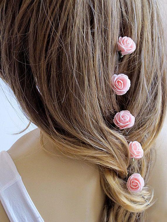 Pink Rose Wedding Hair Pins Hair Pins wedding by selenayy on Etsy