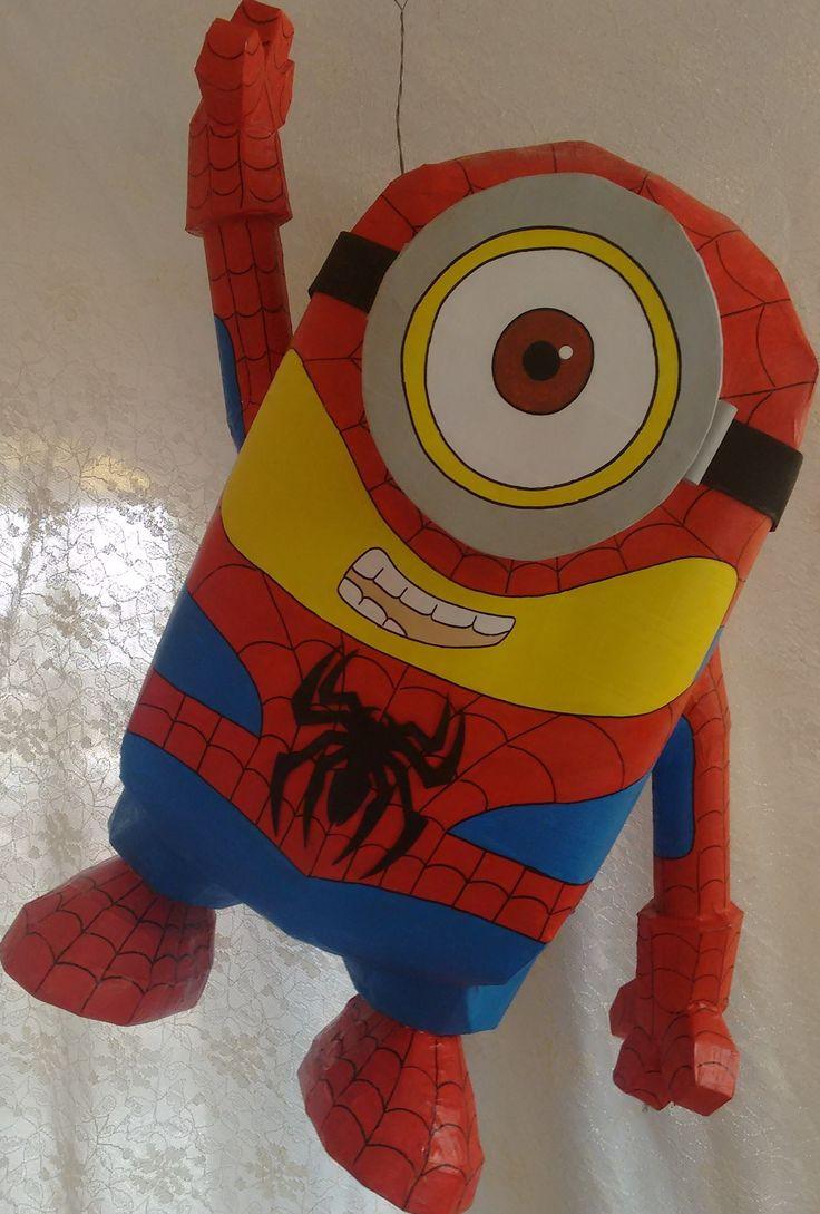 Piñata en 3d  MINIONS SPIDERMAN