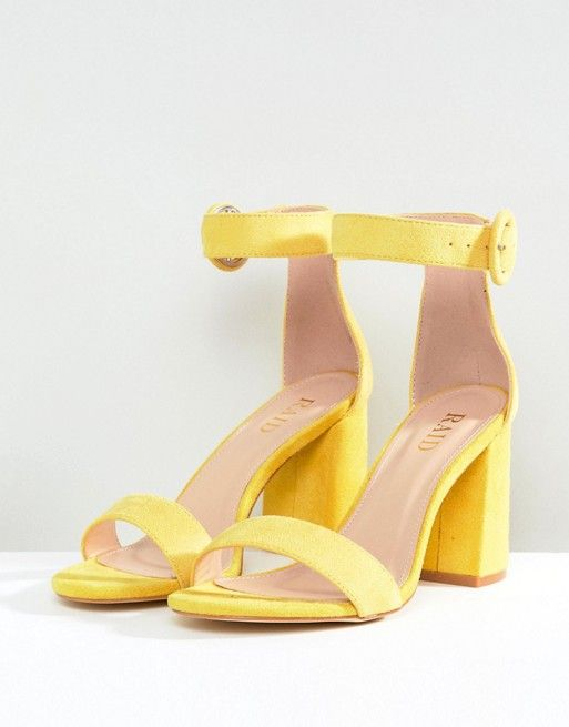 RAID Wide Fit Genna Yellow Block Heeled Sandals in 2019