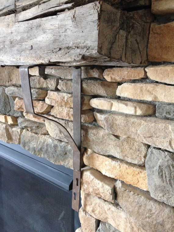 vintage pair iron brackets for barn wood beam fireplace. Black Bedroom Furniture Sets. Home Design Ideas
