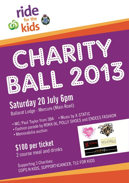Frock up and be fabulous!   You can still get tickets to the ride for the kids charity ball! Click here http://www.tlcforkids.org.au/events/ride-for-the-kids   for more info and enjoy a night of fun while raising funds for us and our friends at Cops N Kids Camps and Support4Cancer
