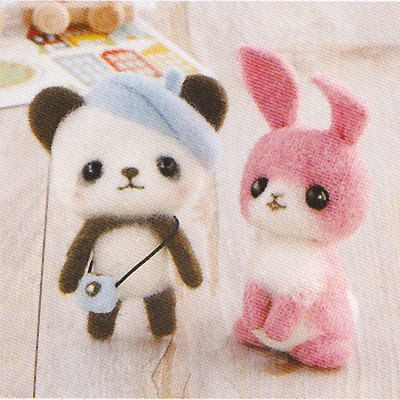 DIY Needle wool felt Panda bear and Rabbit KIT Japanese craft kit