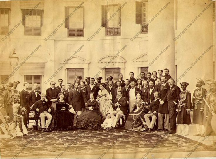 Group photograph taken at Government house, Calcutta, India.  December 1869. With Prince Alfred of Saxe-Coburg and Gotha and Lord Mayo, Viceroy and governor general of India from 1869-1872.