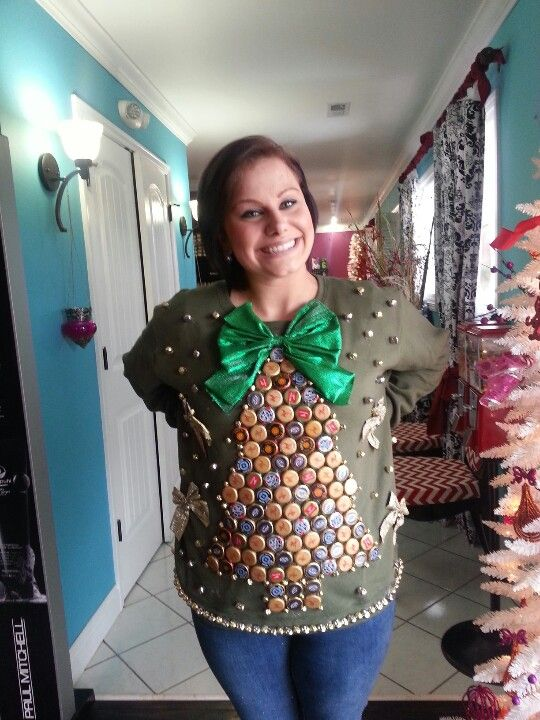 Tacky Christmas sweater made with beer bottle caps