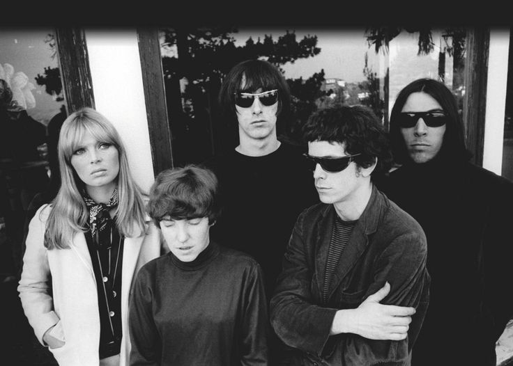 Nico, Maureen Tucker, Sterling Morrison, Lou Reed and John Cale of the band The Velvet Underground at Phillip Law's home during the Exploding Plastic Inevitable tour, photographed by Steve Schapiro, 1966