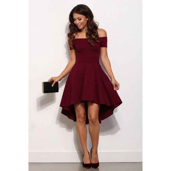 Burgundy All The Rage Skater Dress ($37) ❤ liked on Polyvore featuring dresses, short sleeve dress, short sleeve skater dress, burgundy skater skirt, high low dresses and circle skirt