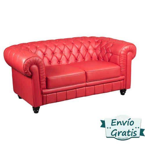 Sofá vintage clásico Chester en elegante polipiel rojo Réplica del Siglo XIX de la alta