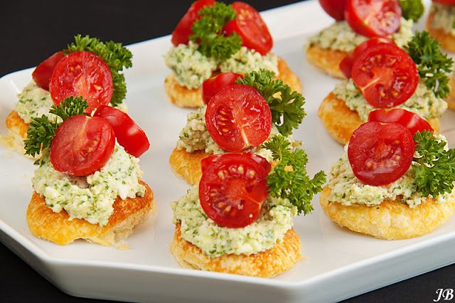 Caroline's Blog: Canape with tomatoes and feta pesto.