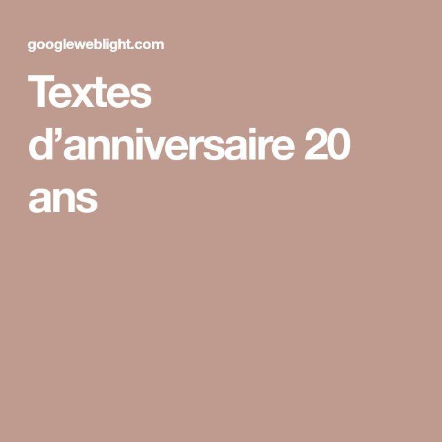 Textes d'anniversaire 20 ans