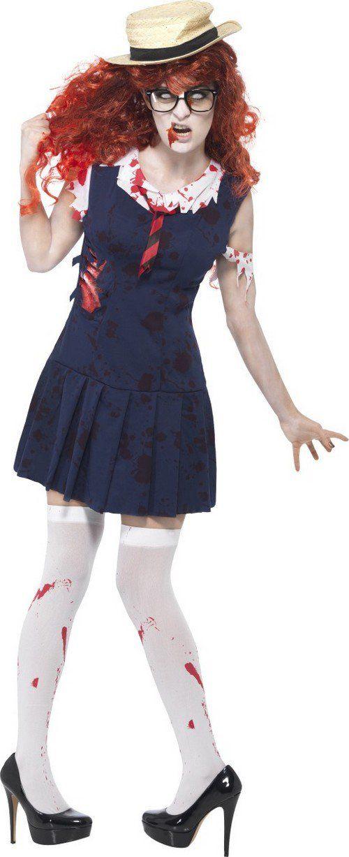 Zombie Halloween kostuum van schoolmeisje volwassenen: Dit Halloween kostuum van een zombie schoolmeisje in gescheurd schooluniform bestaat uit een jurk en een hoed (pruik, kousen en schoenen niet inbegrepen).De marine blauwe jurk is kort en heeft nep...
