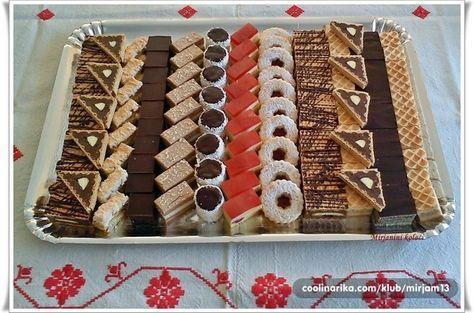 Jaffa štanglice, Toblerone trokuti, Pita od kokosa, Jabučno-čokoladna fantazija, Nesquik pita, Šubarice, Crvenkapica, Vanilice, Rafaelo kocke, Mađarica
