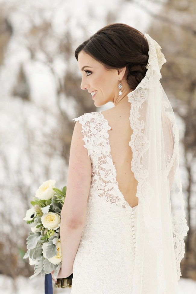 Utah Winter Wedding | Logan Walker Photography | Winter Bridal Portrait | Lace Open-back wedding dress | see more on http://fabyoubliss.com
