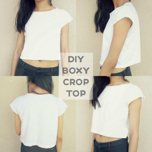 DIY white boxy crop top