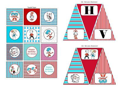 FREE!!! Dr. Seuss Happy Birthday Banner and Cupcake toppers
