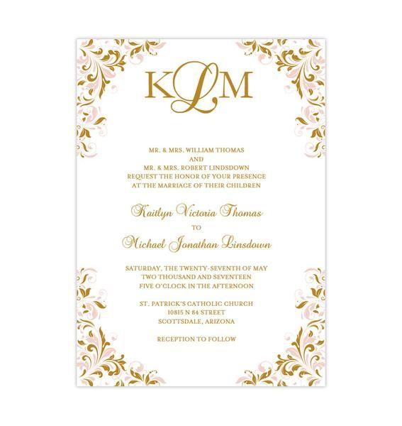 Blush Pink And Gold Printable Wedding Invitation Template Kaitlyn Wedding Invitations Printable Templates Blank Wedding Invitation Templates Wedding Invitation Templates