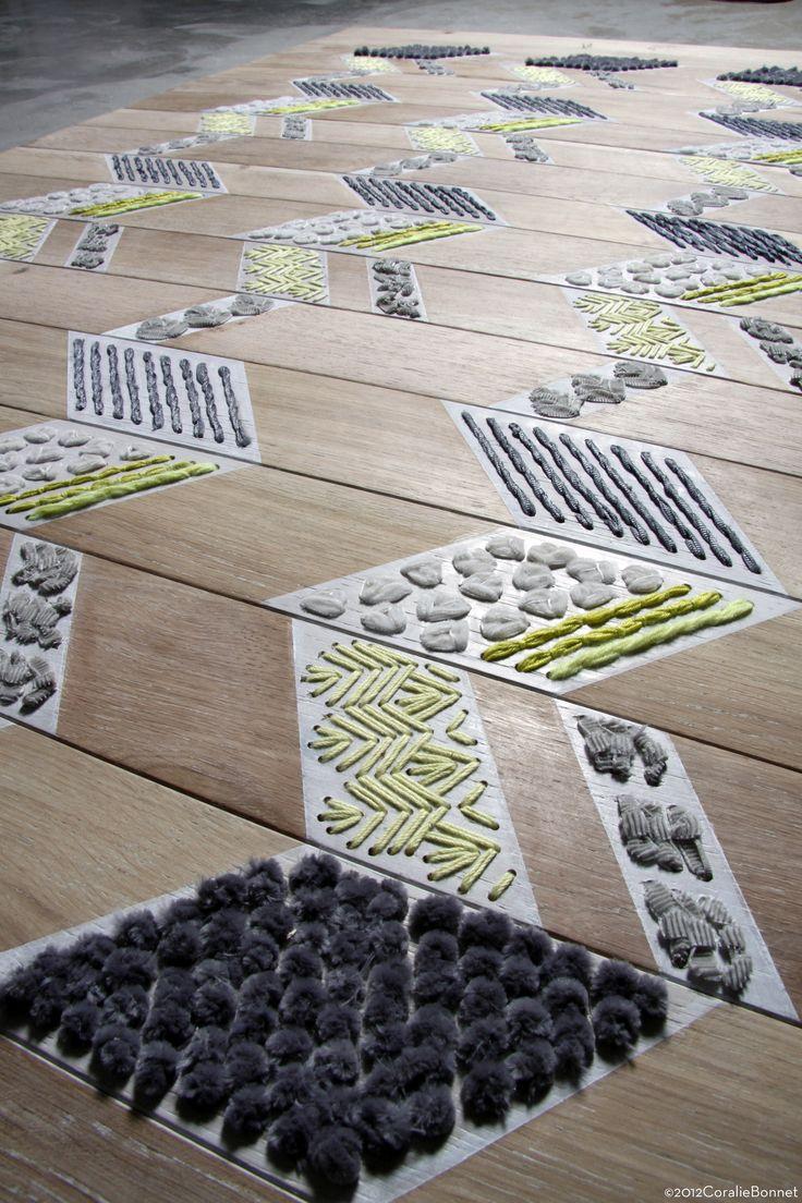 Coralie Bonnet, wooden embroidered floor |