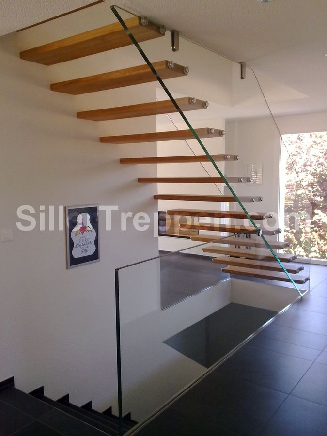 Straight Floating Staircase (glass Frame And Wooden Steps) SCHWEIZ Siller  Stairs
