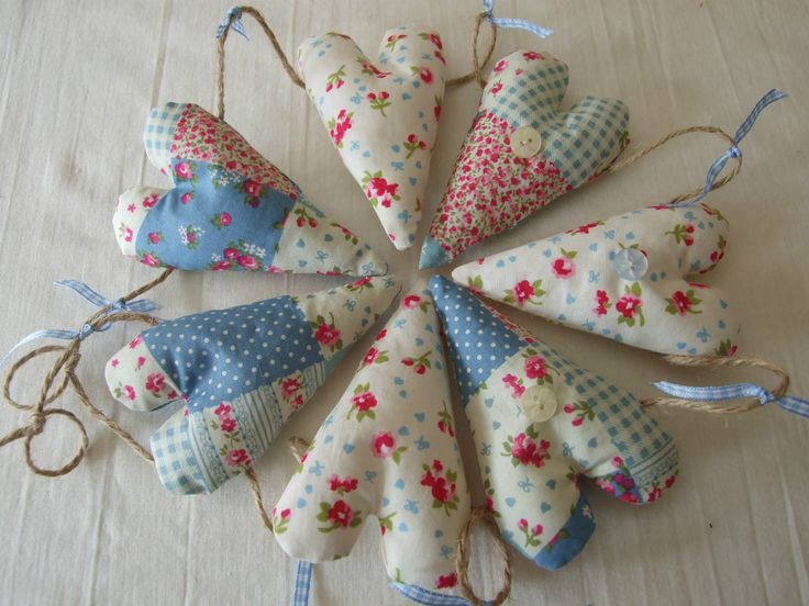 patchwork fabric hearts