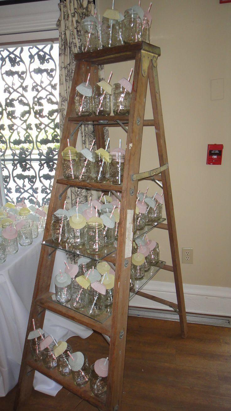 Mason Jar Display On Old Wooden Ladder Www Murphyweddings
