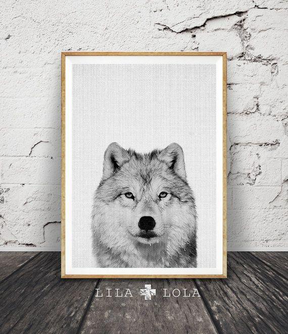Impresión de lobo vivero bosques de pared arte por LILAxLOLA