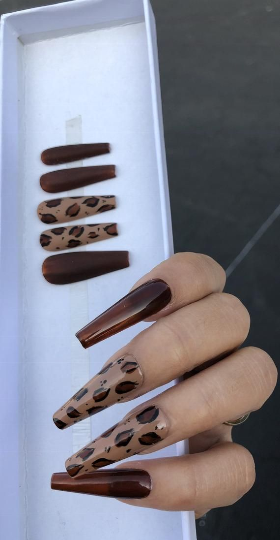 Long Coffin Leopard Press On Nails Etsy In 2020 Leopard Nails Diy Brown Acrylic Nails Nail Art Designs Diy
