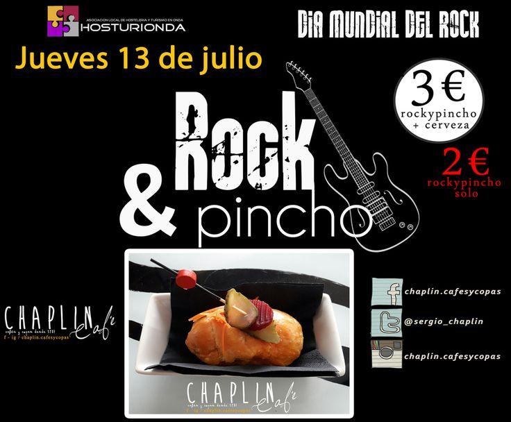 Amigos del #rock... sabéis que hoy es vuestro dia?? @hosturionda lo celebra con el #rock&pincho en 16 locales de #onda y por solo 2. Quedamos de #tardeochaplin hoy??  #tardeo #juernes #veranito #cervecita #pinchito