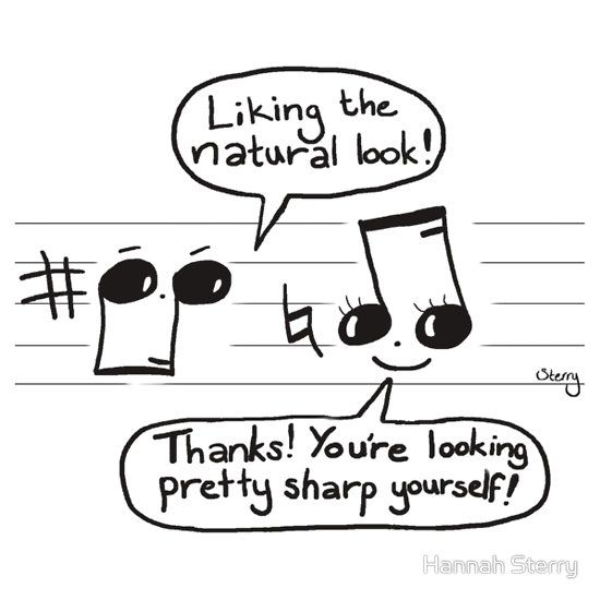 "Musical Compliments:  ""Liking the natural look!""  ""Thanks! You're looking pretty sharp yourself!""  Educational music cartoon by Hannah Sterry."