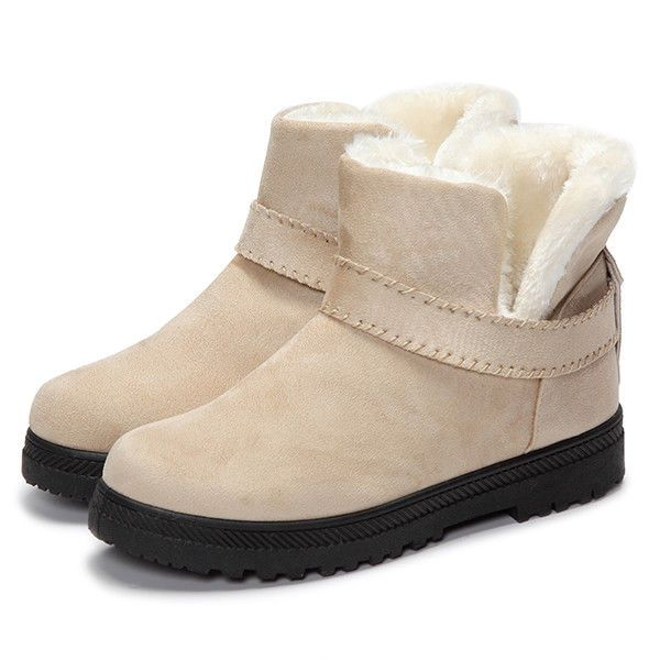Fur Lining Snow Ankle Short Boots Round Toe Soft Winter Boots US Size 5 - 12 #Unbranded #AnkleBoots #Casual