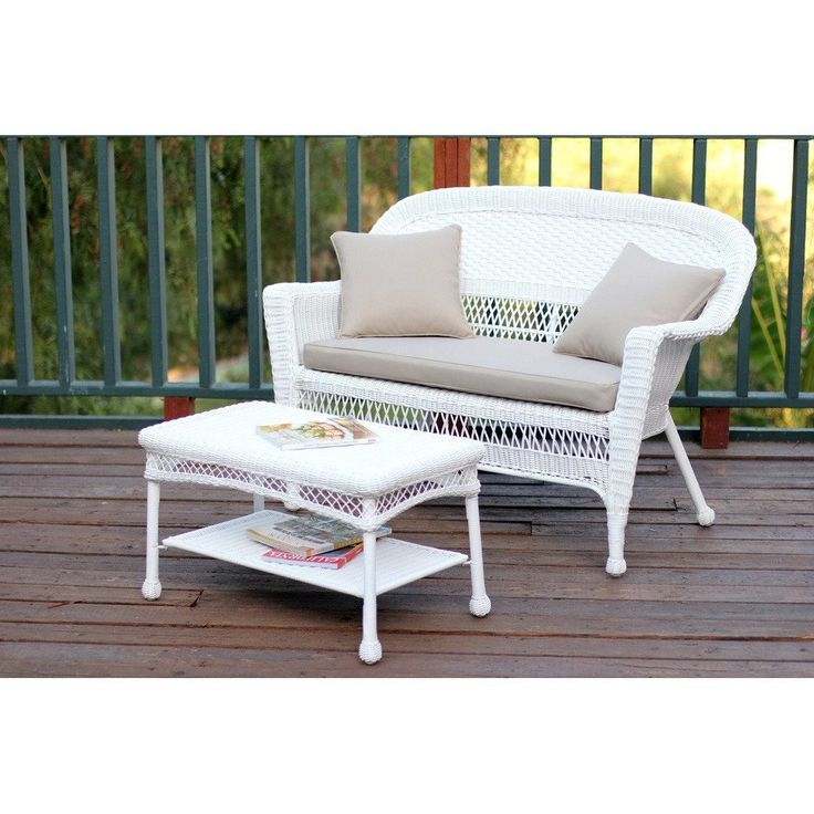 Jeco, White Wicker Patio Love Seat And Coffee Table Set Part 44