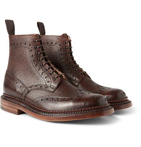 GrensonFred Triple-Welt Pebble-Grain Leather Brogue Boots