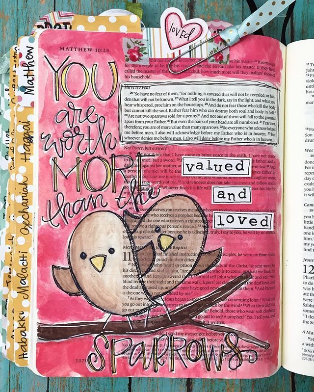 Bible Journaling by Cara Carroll @thefirstgradeparade | Matthew 10:29-31