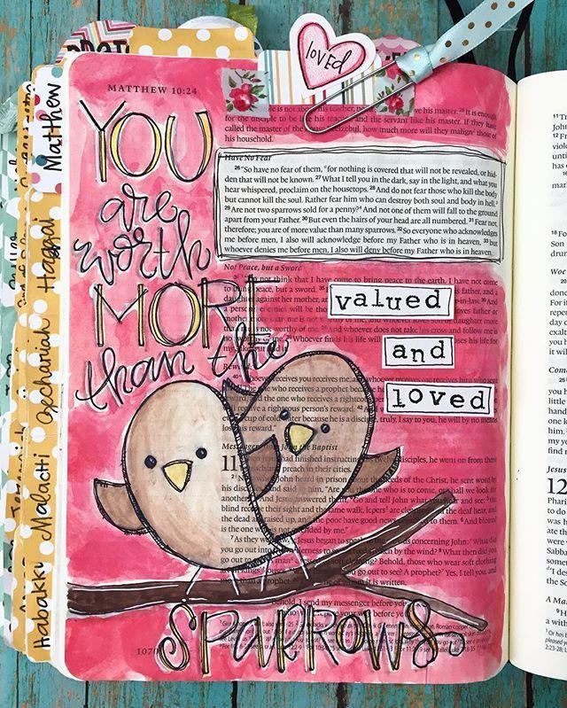 Bible Journaling by Cara Carroll @thefirstgradeparade   Matthew 10:29-31