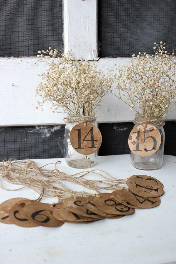 rustic woodland kraft paper wedding table numbers / http://www.deerpearlflowers.com/rustic-country-kraft-paper-wedding-ideas/