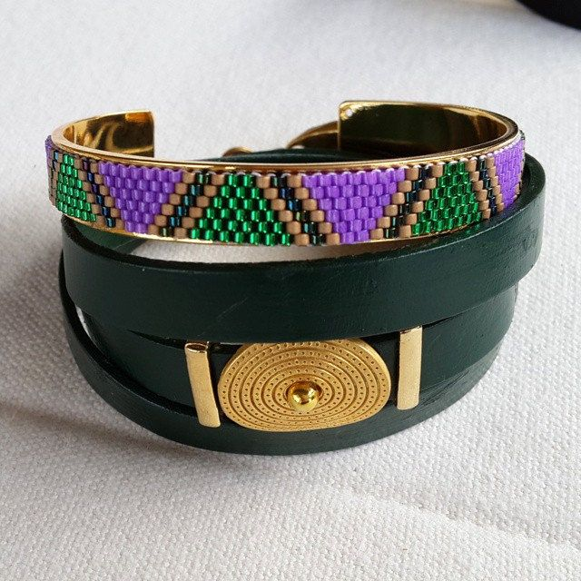 purple green handcuff bracelet and leather combination by gunselstyle on Etsy
