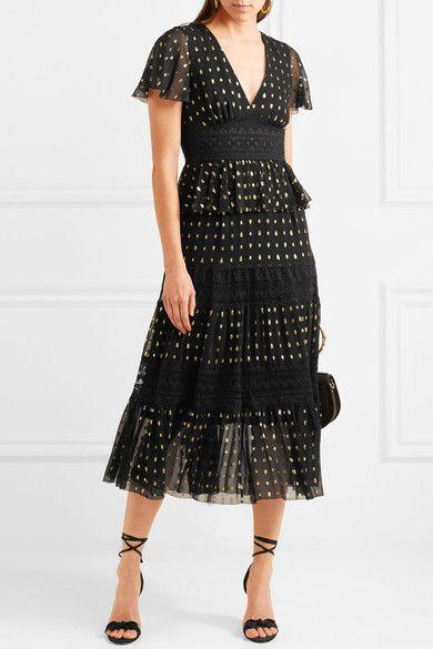 Temperley London   Wondering lace-paneled fil coupé georgette midi dress   NET-A-PORTER.COM