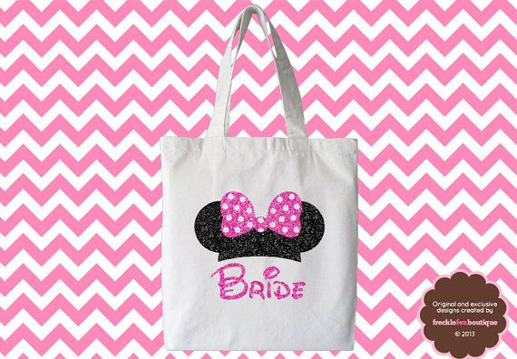 PINK Personalized Disney Minnie Bride Tote Maid Of Honor Shirt Future Mrs Bride To Be Bride Shirt Bridesmaid Engaged Bachelorette Tote Bag. $34.99, via Etsy.