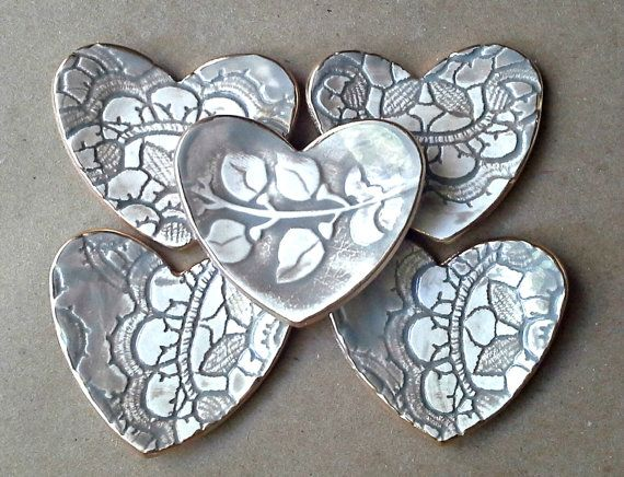 FIVE itty bitty TAUPE edged in gold Heart Ring Bowls by dgordon