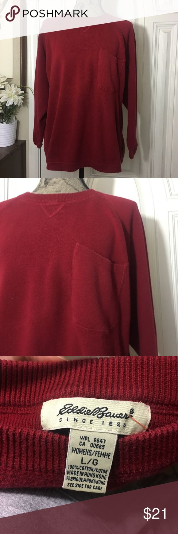 Eddie Bauer Men's Red Crewneck Sweater NEVER WORN! Brand new...perfect condition! Very thick and warm with pocket Eddie Bauer Sweaters Crewneck